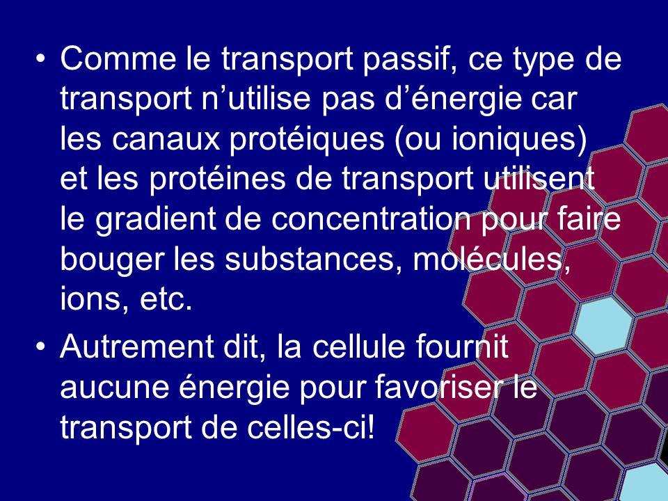 Comme le transport passif, ce type de transport n'utilise pas d'énergie car les canaux protéiques (ou ioniques) et les protéines de transport utilisen