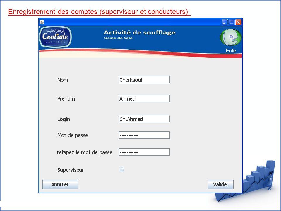 Enregistrement des comptes (superviseur et conducteurs)
