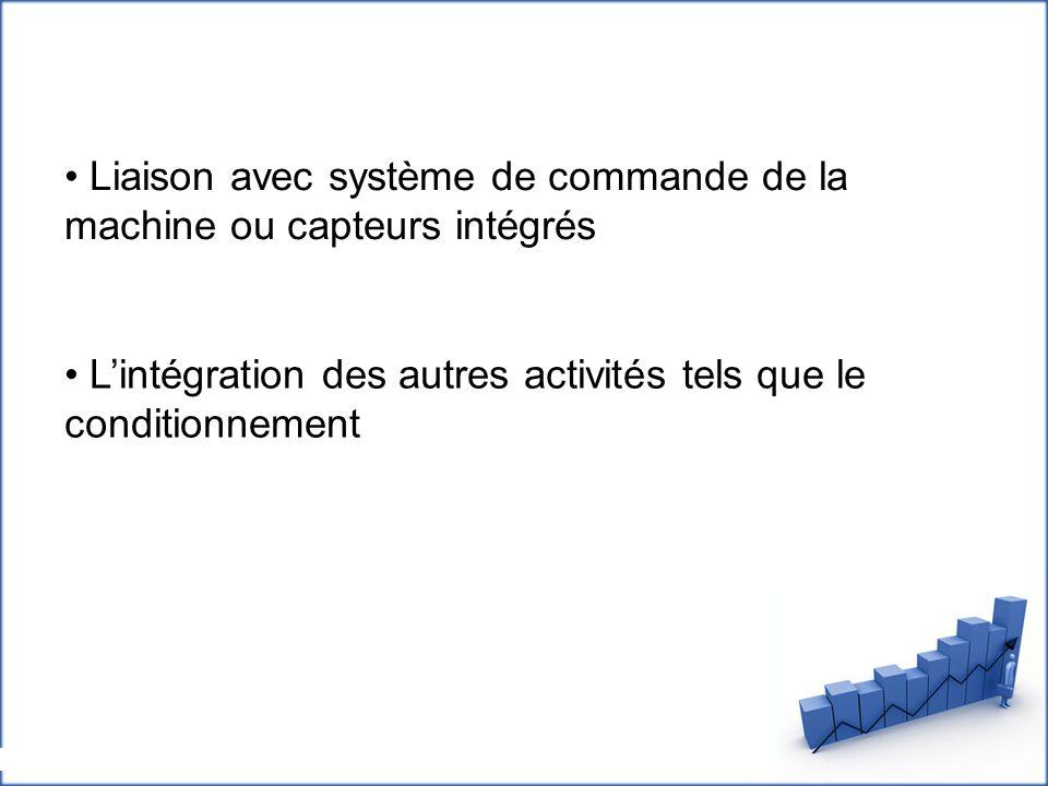 Liaison avec système de commande de la machine ou capteurs intégrés L'intégration des autres activités tels que le conditionnement