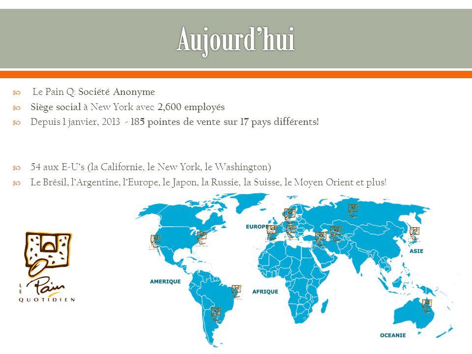  Le Pain Q: Société Anonyme  Siège social à New York avec 2,600 employés  Depuis 1 janvier, 2013 - 185 pointes de vente sur 17 pays différents.