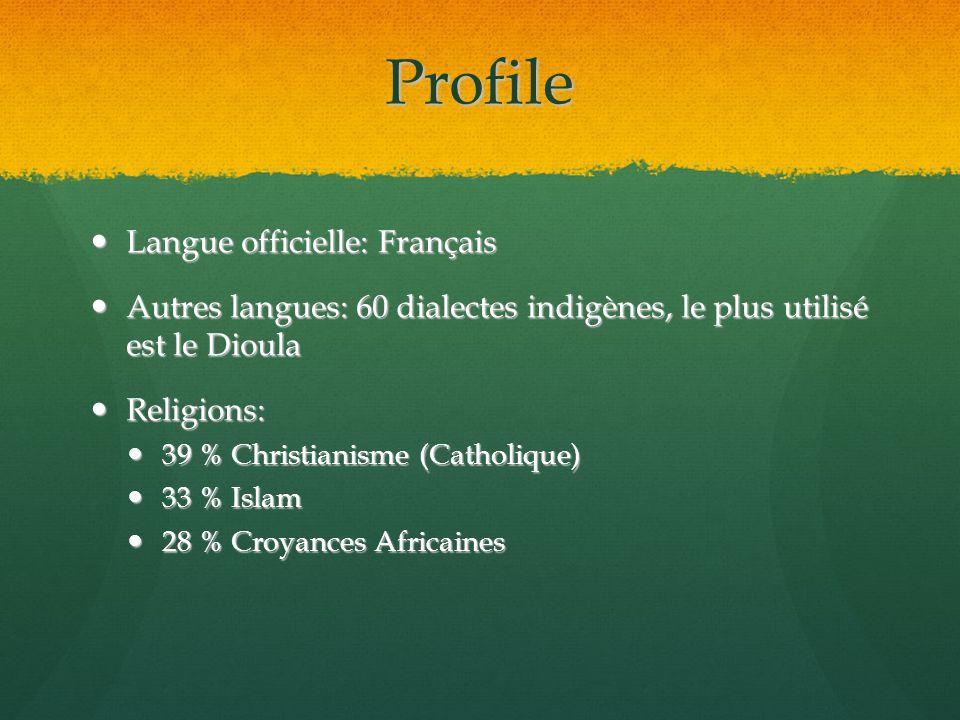 Profile Langue officielle: Français Langue officielle: Français Autres langues: 60 dialectes indigènes, le plus utilisé est le Dioula Autres langues: