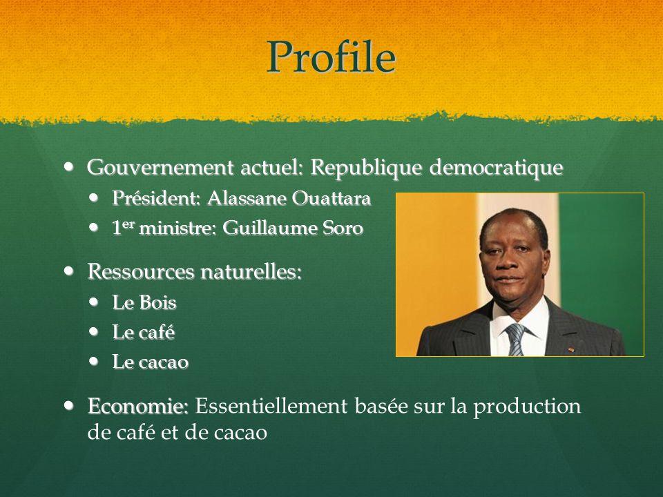 Profile Gouvernement actuel: Republique democratique Gouvernement actuel: Republique democratique Président: Alassane Ouattara Président: Alassane Oua