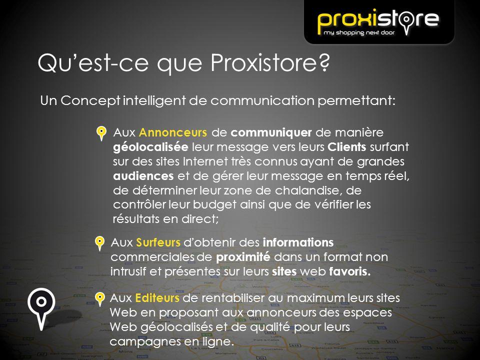 Qu'est-ce que Proxistore? Un Concept intelligent de communication permettant: Aux Annonceurs de communiquer de manière géolocalisée leur message vers