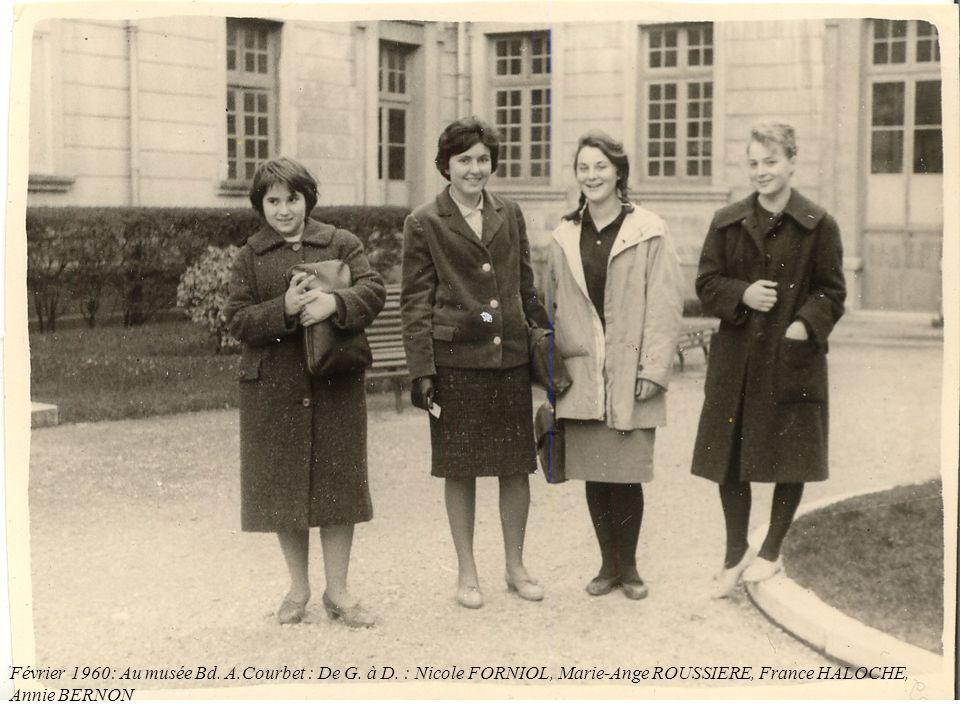 Février 1960: Au musée Bd. A.Courbet : De G. à D. : Nicole FORNIOL, Marie-Ange ROUSSIERE, France HALOCHE, Annie BERNON