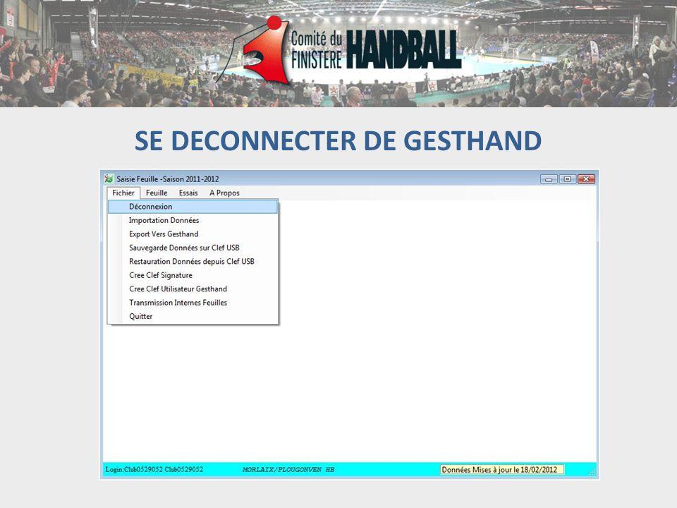 SE DECONNECTER DE GESTHAND