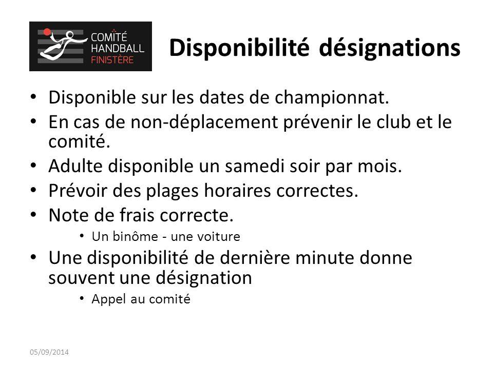 Disponibilité désignations Disponible sur les dates de championnat.