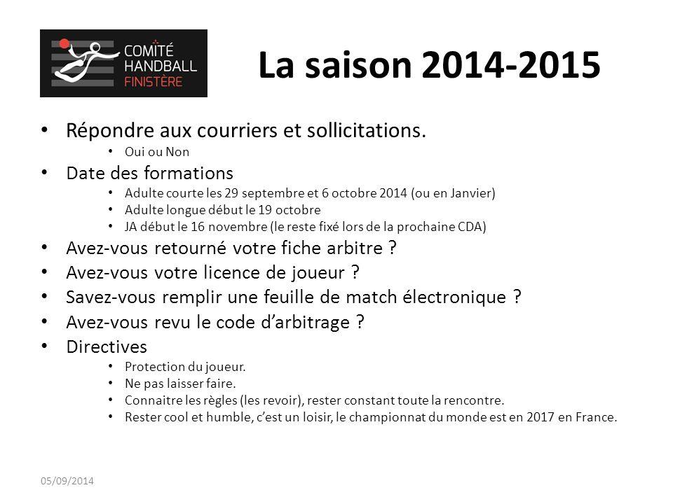 La saison 2014-2015 Répondre aux courriers et sollicitations.