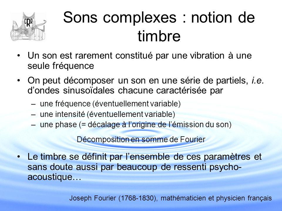 Sons complexes : notion de timbre Un son est rarement constitué par une vibration à une seule fréquence On peut décomposer un son en une série de part