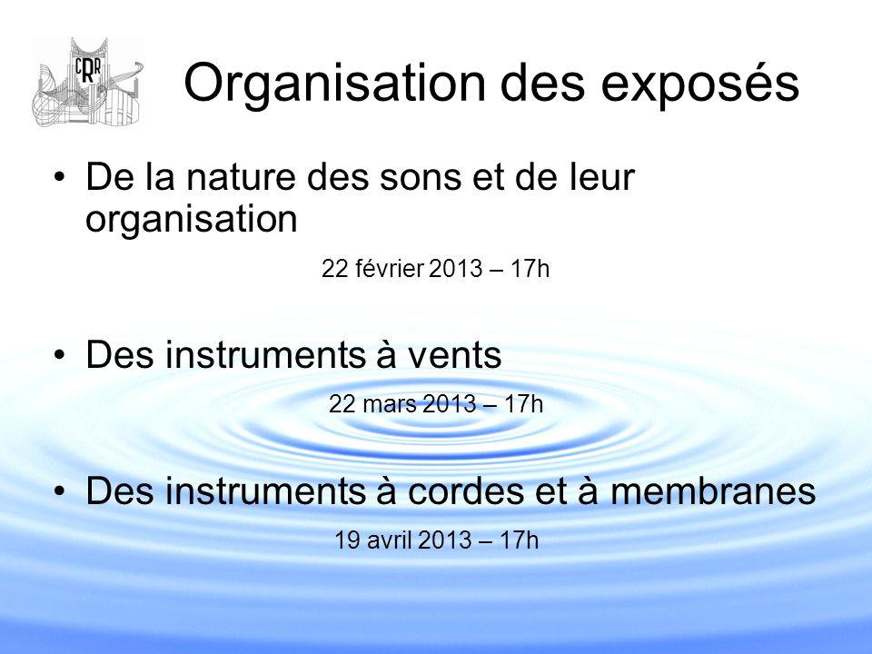 Organisation des exposés De la nature des sons et de leur organisation 22 février 2013 – 17h Des instruments à vents 22 mars 2013 – 17h Des instrument