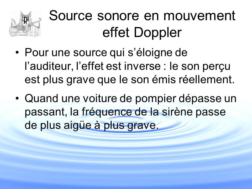 Source sonore en mouvement effet Doppler Pour une source qui s'éloigne de l'auditeur, l'effet est inverse : le son perçu est plus grave que le son émi