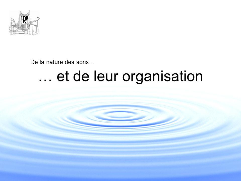 … et de leur organisation De la nature des sons…