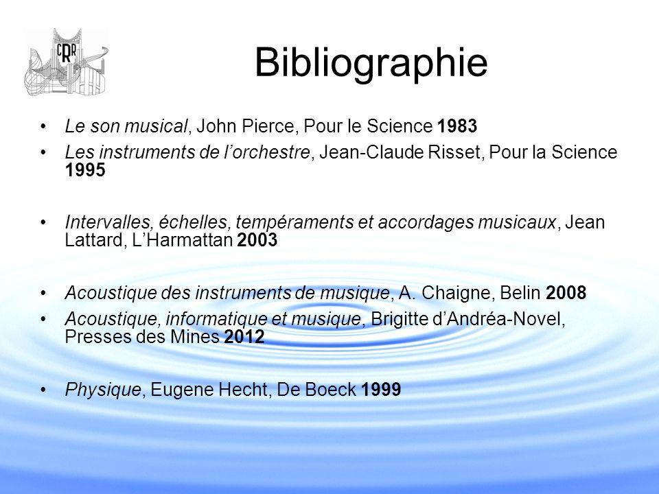 Bibliographie Le son musical, John Pierce, Pour le Science 1983 Les instruments de l'orchestre, Jean-Claude Risset, Pour la Science 1995 Intervalles,