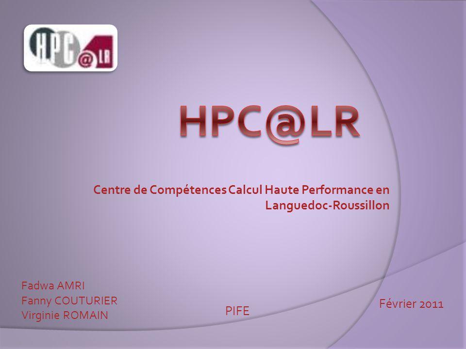 Centre de Compétences Calcul Haute Performance en Languedoc-Roussillon Fadwa AMRI Fanny COUTURIER Virginie ROMAIN PIFE Février 2011