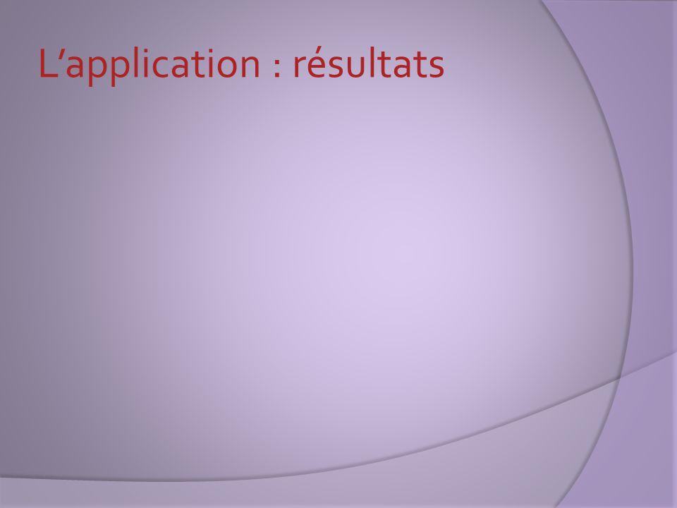 L'application : résultats