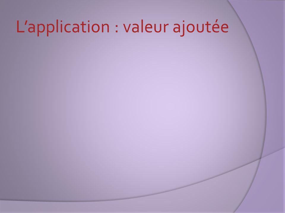 L'application : valeur ajoutée