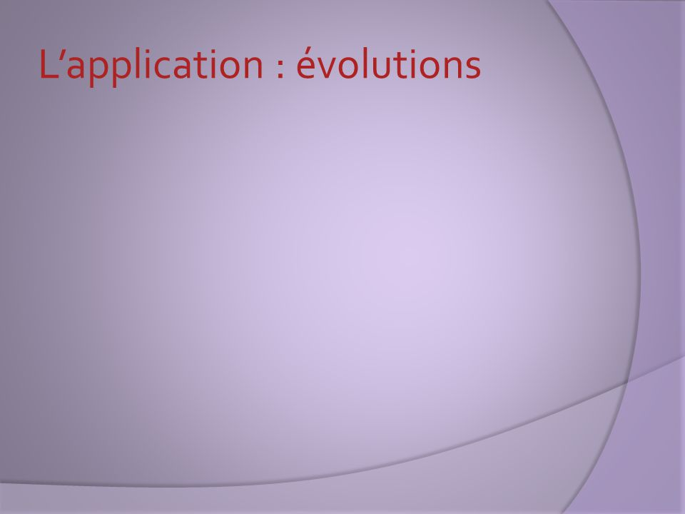L'application : évolutions