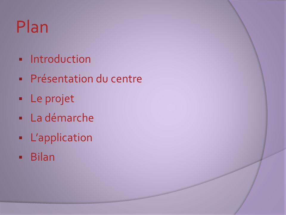 Plan  Introduction  Présentation du centre  Le projet  La démarche  L'application  Bilan