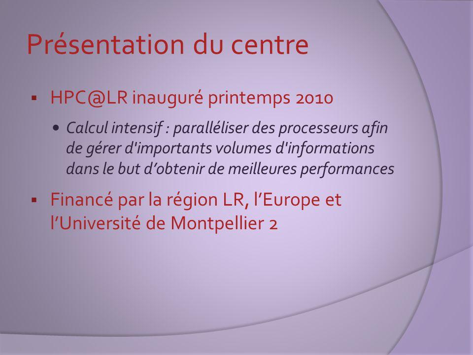 Présentation du centre  HPC@LR inauguré printemps 2010 Calcul intensif : paralléliser des processeurs afin de gérer d'importants volumes d'informatio