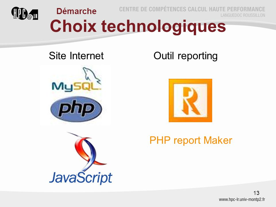 Choix technologiques Site Internet Outil reporting PHP report Maker 13 Démarche
