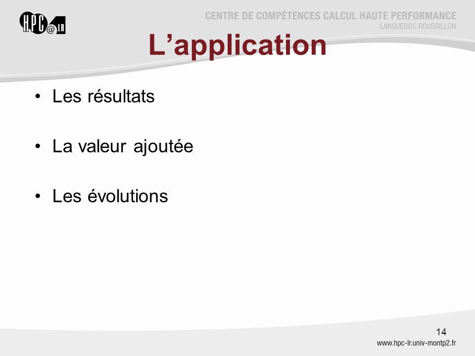 L'application Les résultats La valeur ajoutée Les évolutions 14
