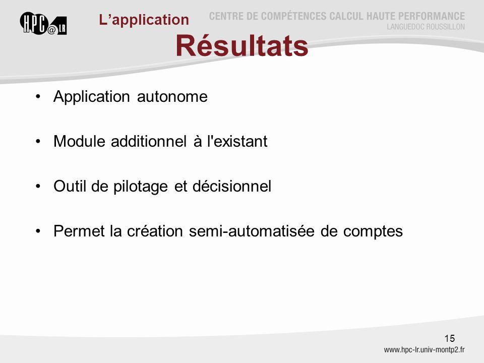 Résultats Application autonome Module additionnel à l'existant Outil de pilotage et décisionnel Permet la création semi-automatisée de comptes 15 L'ap