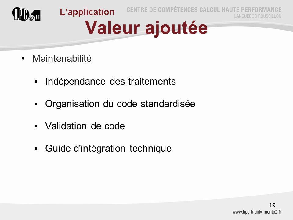 Valeur ajoutée Maintenabilité  Indépendance des traitements  Organisation du code standardisée  Validation de code  Guide d'intégration technique