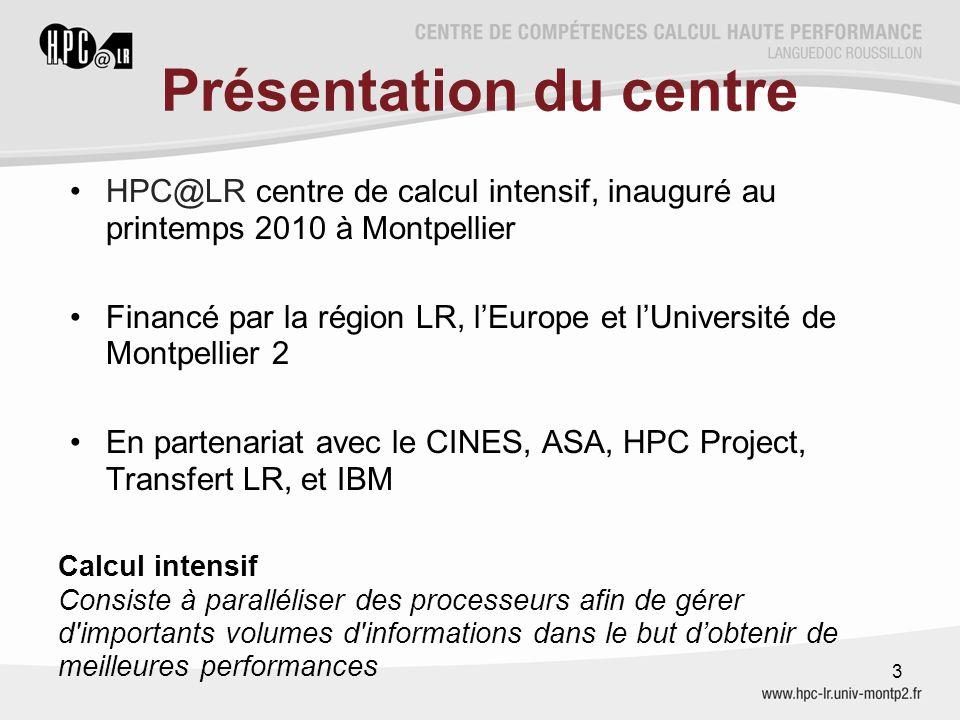 Présentation du centre HPC@LR centre de calcul intensif, inauguré au printemps 2010 à Montpellier Financé par la région LR, l'Europe et l'Université d