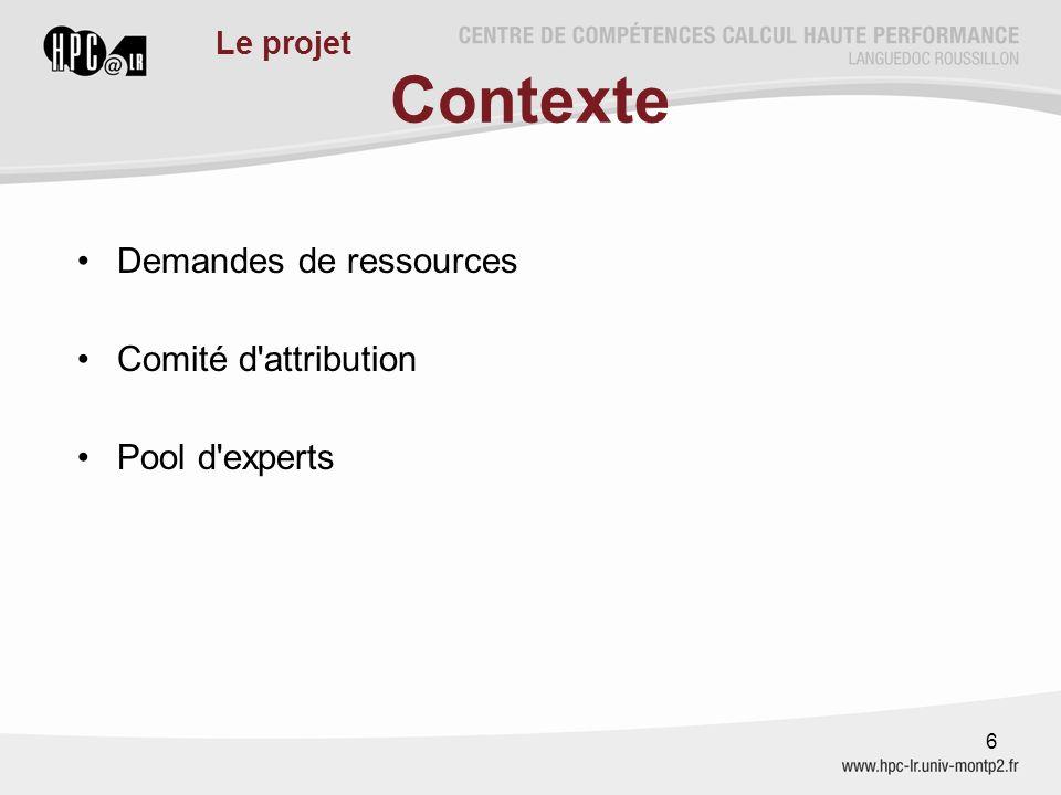 Contexte Demandes de ressources Comité d'attribution Pool d'experts 6 Le projet