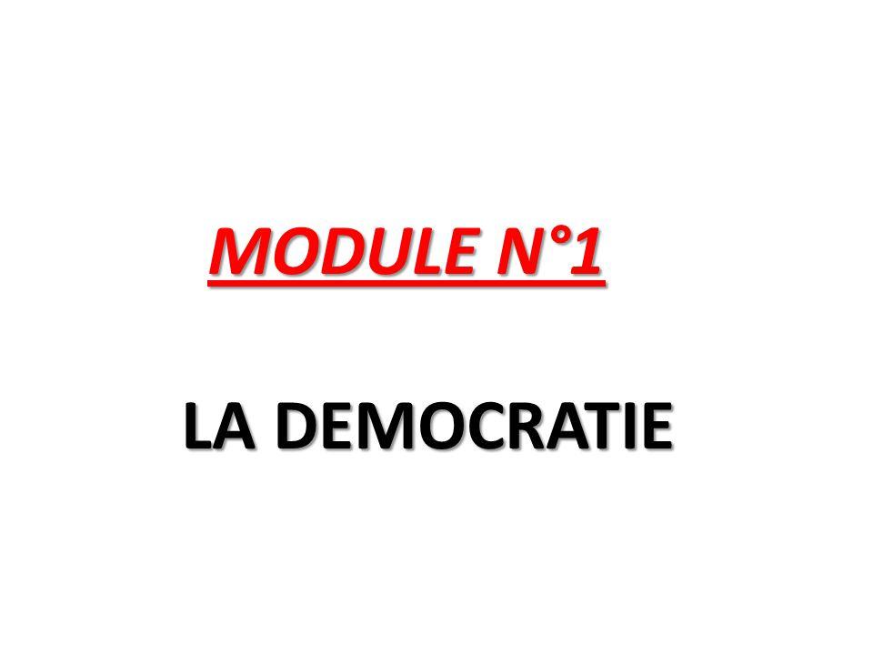 MODULE N°1 LA DEMOCRATIE MODULE N°1 LA DEMOCRATIE
