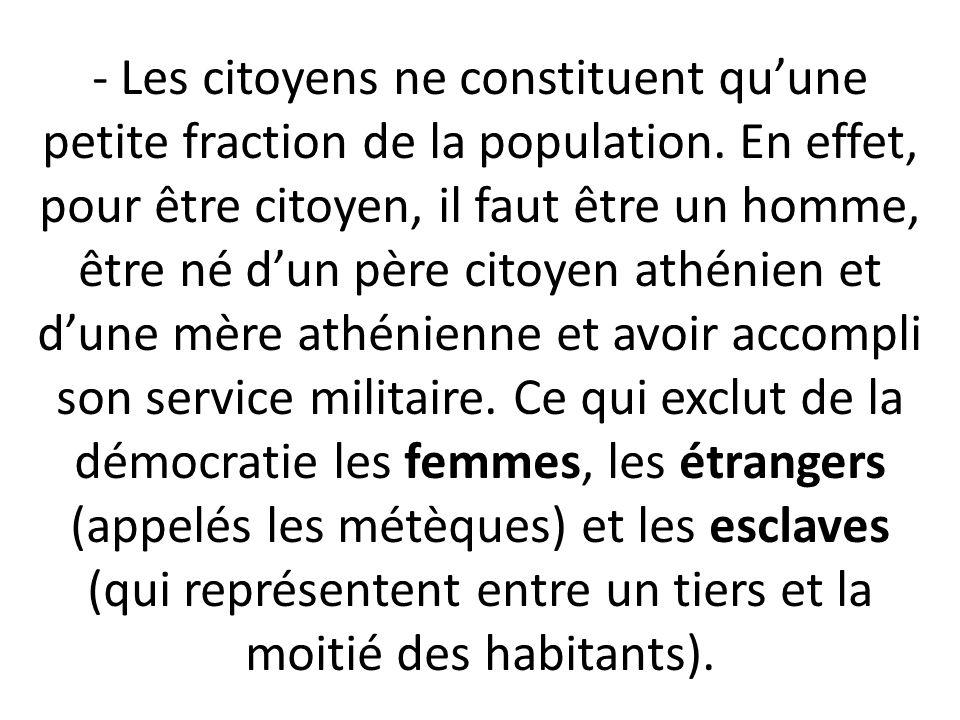 - Les citoyens ne constituent qu'une petite fraction de la population.