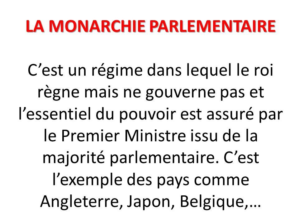 LA MONARCHIE PARLEMENTAIRE LA MONARCHIE PARLEMENTAIRE C'est un régime dans lequel le roi règne mais ne gouverne pas et l'essentiel du pouvoir est assuré par le Premier Ministre issu de la majorité parlementaire.