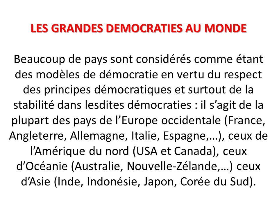 LES GRANDES DEMOCRATIES AU MONDE LES GRANDES DEMOCRATIES AU MONDE Beaucoup de pays sont considérés comme étant des modèles de démocratie en vertu du respect des principes démocratiques et surtout de la stabilité dans lesdites démocraties : il s'agit de la plupart des pays de l'Europe occidentale (France, Angleterre, Allemagne, Italie, Espagne,…), ceux de l'Amérique du nord (USA et Canada), ceux d'Océanie (Australie, Nouvelle-Zélande,…) ceux d'Asie (Inde, Indonésie, Japon, Corée du Sud).