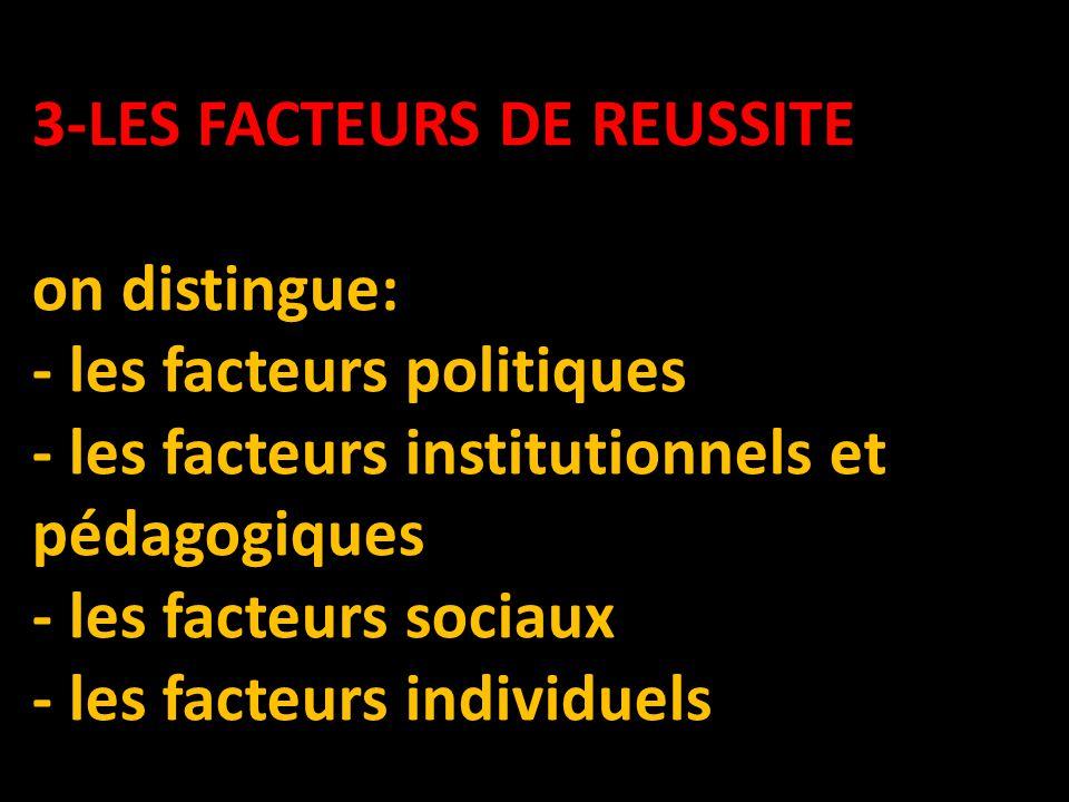 3-LES FACTEURS DE REUSSITE 3-LES FACTEURS DE REUSSITE on distingue: - les facteurs politiques - les facteurs institutionnels et pédagogiques - les facteurs sociaux - les facteurs individuels