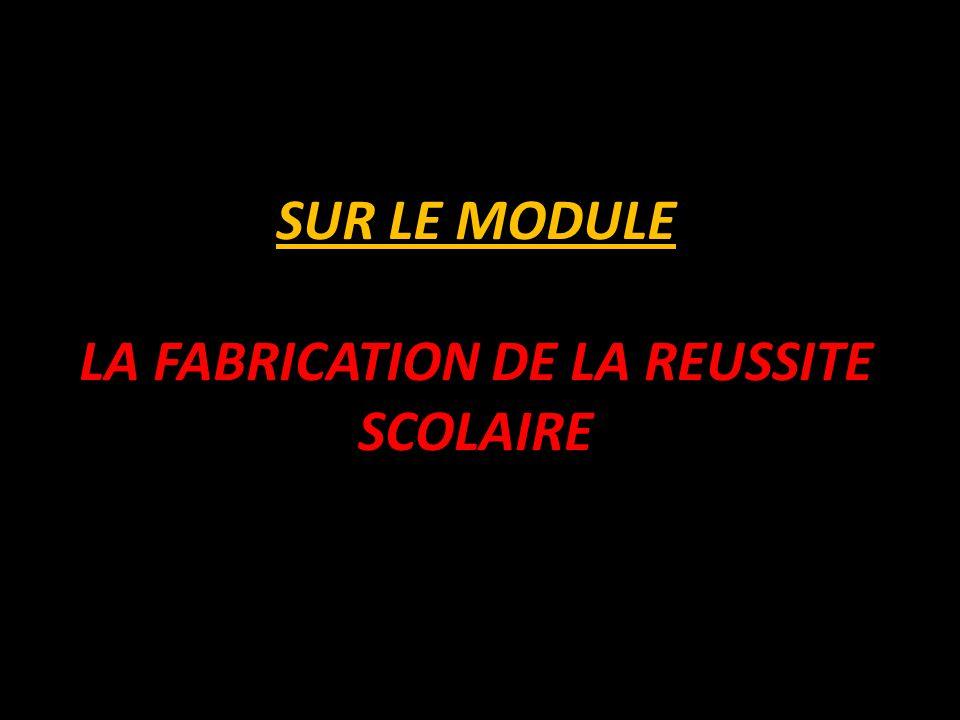SUR LE MODULE LA FABRICATION DE LA REUSSITE SCOLAIRE