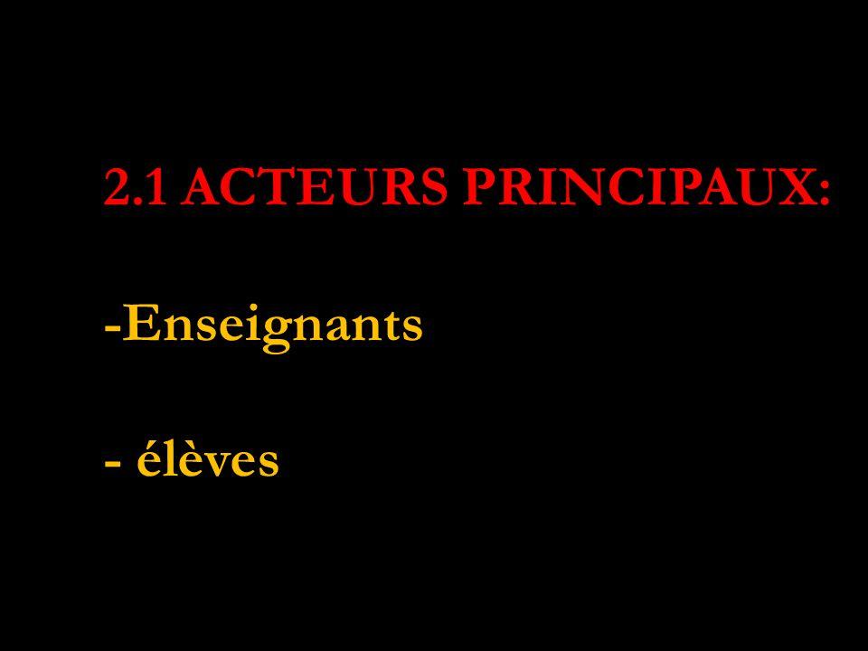 ACTEURS PRINCIPAUX: 2.1 ACTEURS PRINCIPAUX: -Enseignants - élèves