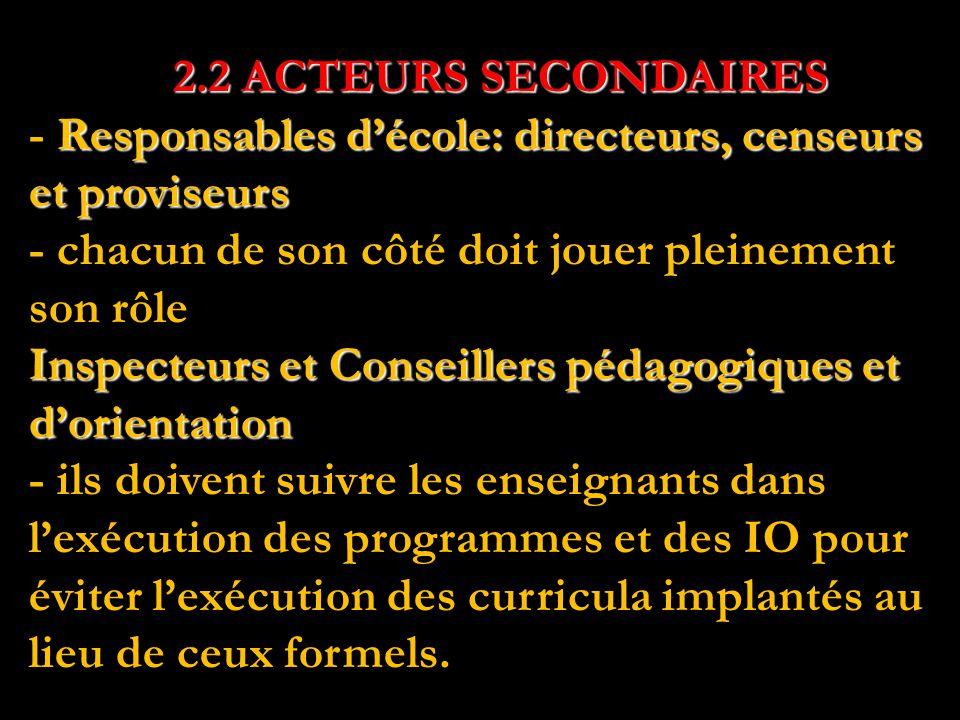 2.2 ACTEURS SECONDAIRES Responsables d'école: directeurs, censeurs et proviseurs Inspecteurs et Conseillers pédagogiques et d'orientation 2.2 ACTEURS SECONDAIRES - Responsables d'école: directeurs, censeurs et proviseurs - chacun de son côté doit jouer pleinement son rôle Inspecteurs et Conseillers pédagogiques et d'orientation - ils doivent suivre les enseignants dans l'exécution des programmes et des IO pour éviter l'exécution des curricula implantés au lieu de ceux formels.