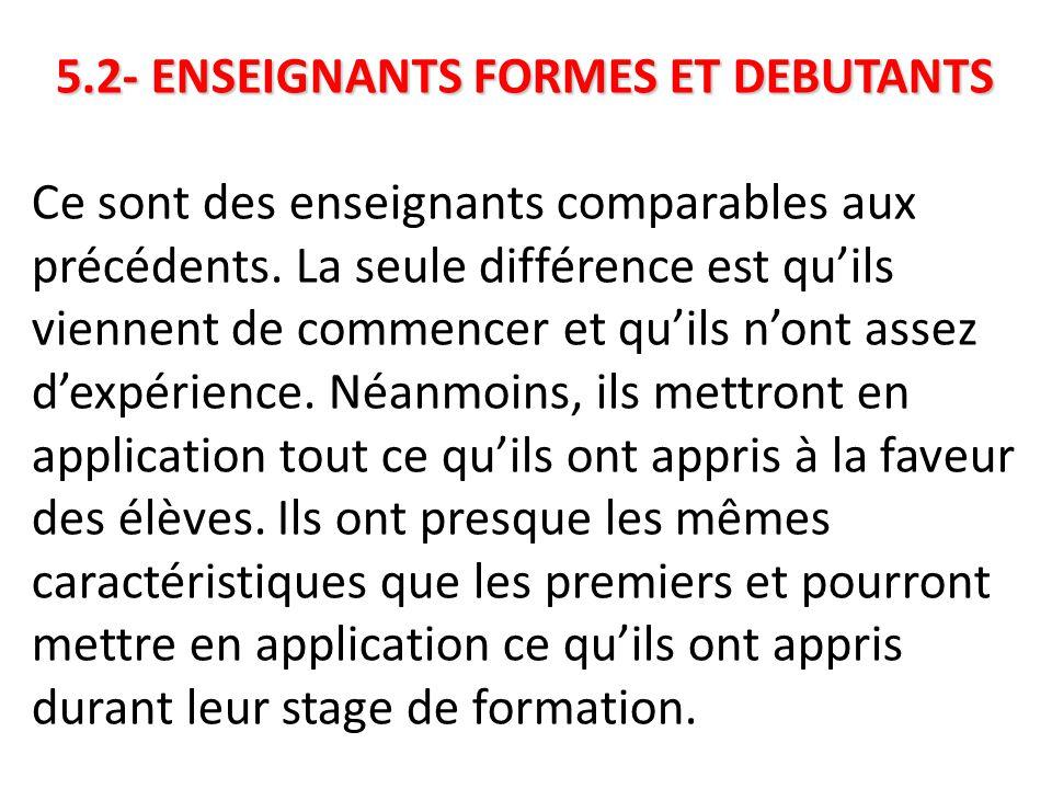 5.2- ENSEIGNANTS FORMES ET DEBUTANTS 5.2- ENSEIGNANTS FORMES ET DEBUTANTS Ce sont des enseignants comparables aux précédents. La seule différence est
