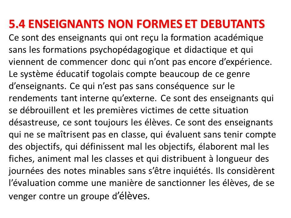 5.4 ENSEIGNANTS NON FORMES ET DEBUTANTS 5.4 ENSEIGNANTS NON FORMES ET DEBUTANTS Ce sont des enseignants qui ont reçu la formation académique sans les