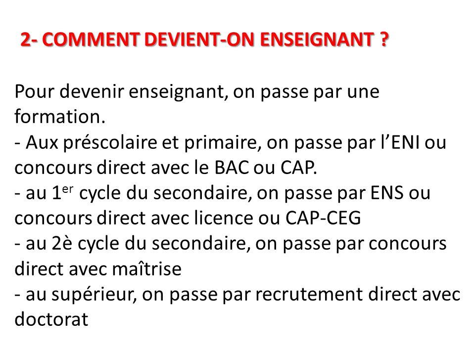 2- COMMENT DEVIENT-ON ENSEIGNANT .2- COMMENT DEVIENT-ON ENSEIGNANT .