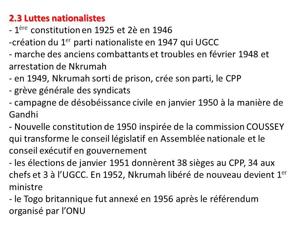 2.3 Luttes nationalistes 2.3 Luttes nationalistes - 1 ère constitution en 1925 et 2è en 1946 -création du 1 er parti nationaliste en 1947 qui UGCC - m