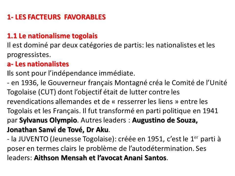 1- LES FACTEURS FAVORABLES 1.1 Le nationalisme togolais a- Les nationalistes I Sylvanus OlympioAugustino de Souza, Jonathan Sanvi de Tové, Dr Aku Aith