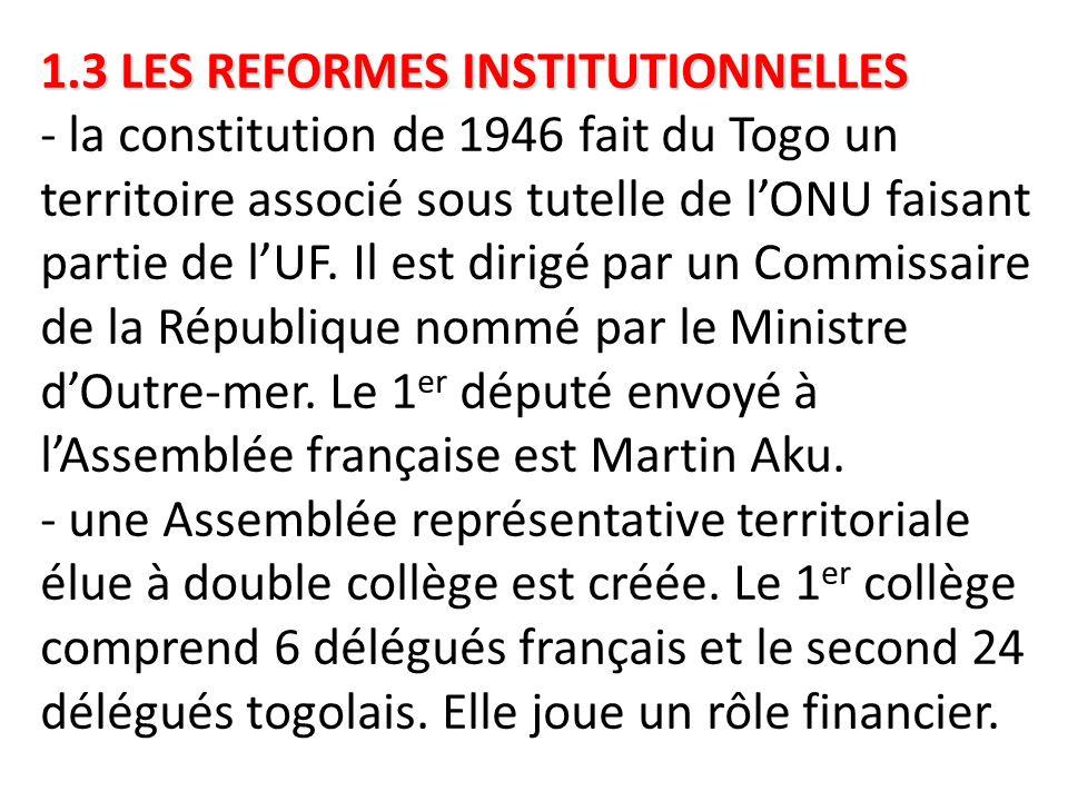 1.3 LES REFORMES INSTITUTIONNELLES 1.3 LES REFORMES INSTITUTIONNELLES - la constitution de 1946 fait du Togo un territoire associé sous tutelle de l'O