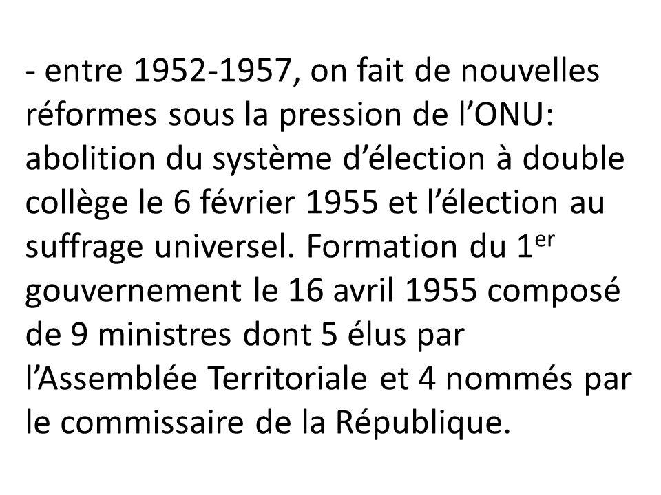 - entre 1952-1957, on fait de nouvelles réformes sous la pression de l'ONU: abolition du système d'élection à double collège le 6 février 1955 et l'él