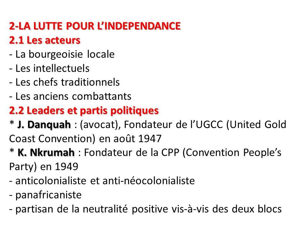 2-LA LUTTE POUR L'INDEPENDANCE 2.1 Les acteurs 2.2 Leaders et partis politiques J. Danquah K. Nkrumah 2-LA LUTTE POUR L'INDEPENDANCE 2.1 Les acteurs -