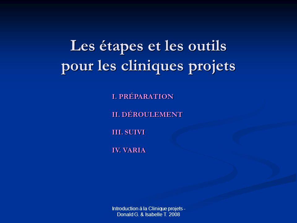 Les étapes et les outils pour les cliniques projets I.