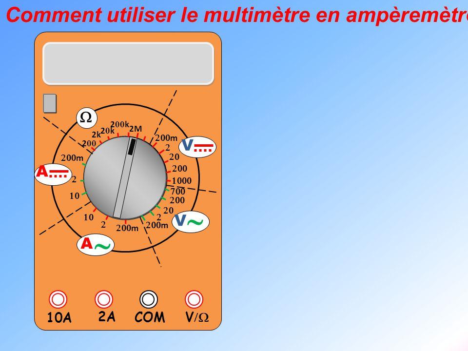  V  2A 10A COM      m    m 2k 20k20k 2 00 k 2 00 2M  m       m V V  A  A Etape 1 : Connecter les fils sur l'ampèremètre: on utilise les bornes COM et 2A.