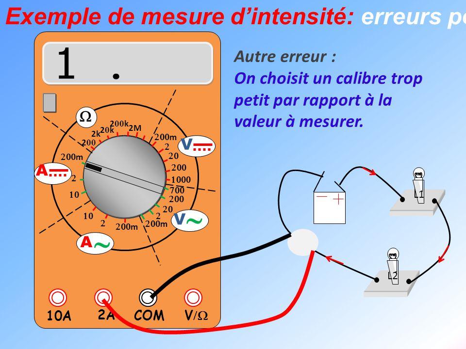  V  2A 10A COM      m    m 2k 20k20k 2 00 k 2 00 2M  m       m V V  A  A L1 L2 Autre erreur : On choisit un cal