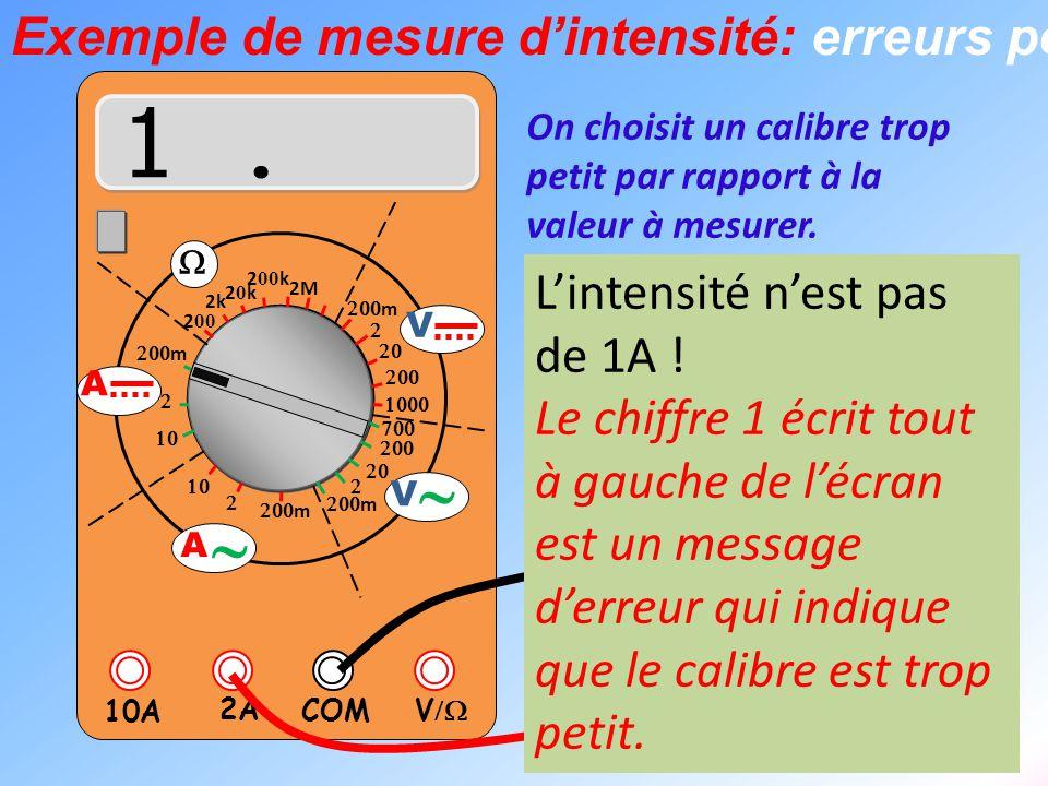  V  2A 10A COM      m    m 2k 20k20k 2 00 k 2 00 2M  m       m V V  A  A L1 L2 On choisit un calibre trop petit