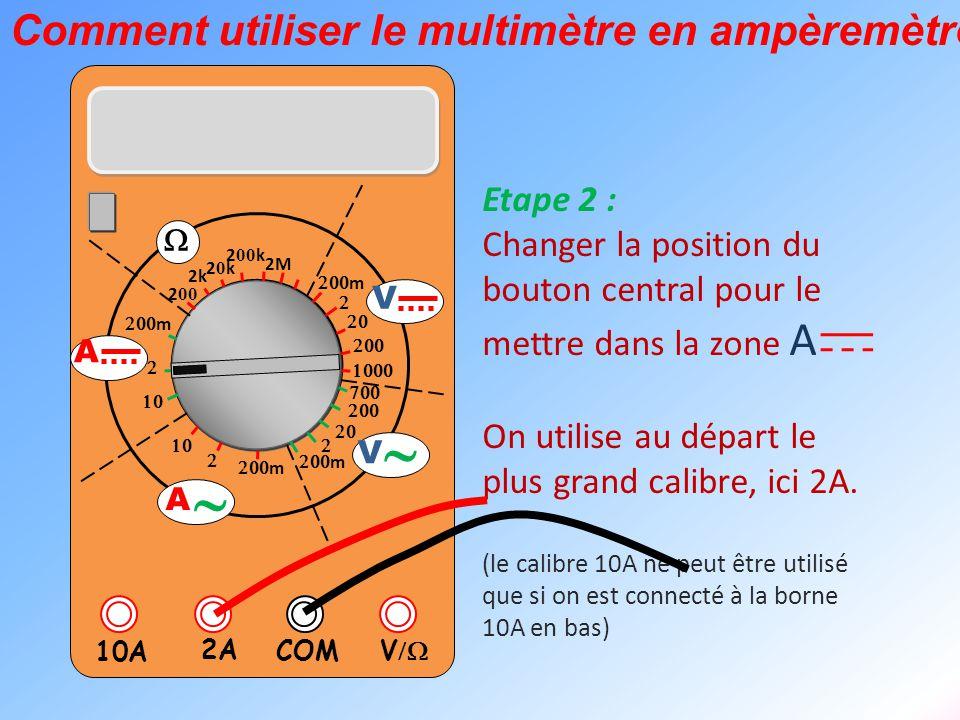  V  2A 10A COM      m    m 2k 20k20k 2 00 k 2 00 2M  m       m V V  A  A Le multimètre est maintenant prêt à être utilisé en ampèremètre pour mesurer l'intensité d'un courant électrique.