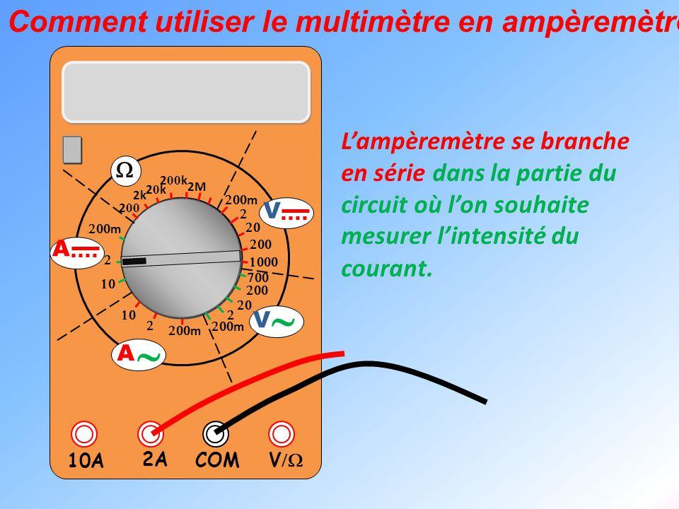  V  2A 10A COM      m    m 2k 20k20k 2 00 k 2 00 2M  m       m V V  A  A L'ampèremètre se branche en série dans